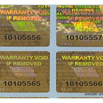 Orange 0.60 inch 15 mm x 15 mm serial # TAMPER EVIDENT SECURITY VOID HOLOGRAM LABELS