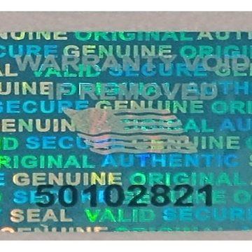 Blue 0.60 inch 15 mm x15 mm serial # TAMPER EVIDENT SECURITY VOID HOLOGRAM LABELS