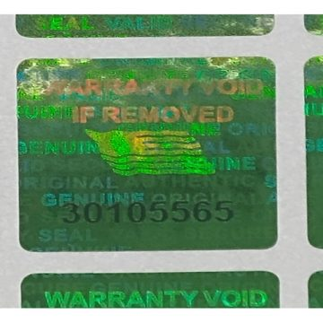 Green 0.60 inch 15 mm x15 mm serial # TAMPER EVIDENT SECURITY VOID HOLOGRAM LABELS (Copy)