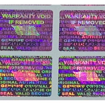 Pink 0.60 inch 15 mm x15 mm pair serial # TAMPER EVIDENT SECURITY VOID HOLOGRAM LABELS
