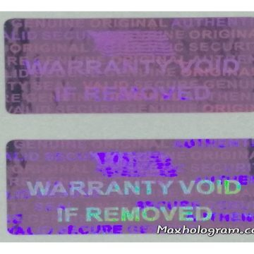 Pink 15mm x 30 mm (0.60in x1.20in ) serial # TAMPER EVIDENT SECURITY VOID HOLOGRAM LABELS