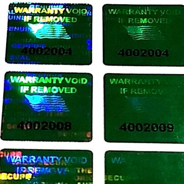Green 0.60 inch 15 mm x15 mm pair serial # TAMPER EVIDENT SECURITY VOID HOLOGRAM LABELS