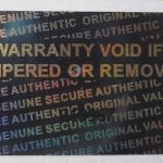 Silver 0.60in x1.20in (15mm x 30 mm) serial # TAMPER EVIDENT SECURITY VOID HOLOGRAM LABELS