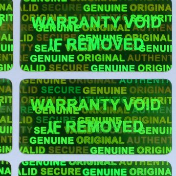 Green Rectangle 15 mm x 30 mm (0.60 in x 1.20 in) serial # TAMPER EVIDENT SECURITY VOID HOLOGRAM LABELS