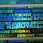 Blue 0.60in x1.20in (15mm x 30 mm) serial # TAMPER EVIDENT SECURITY VOID HOLOGRAM LABELS