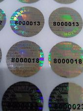Silver 0.50 inch 14 mm pair serial # TAMPER EVIDENT SECURITY VOID HOLOGRAM LABELS